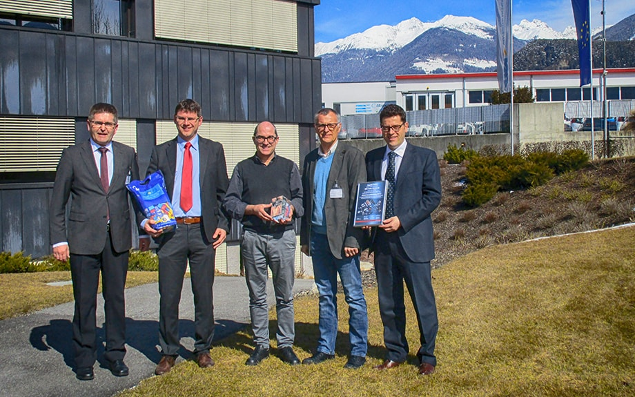 From left to right: Bruno Gasser, Strategic Procurement; Leonhard Künig, Sales Director; Nikolaus Bachman, Plant Manager Bruneck; Daniel Allemann, Head of Strategic Purchasing and Marco Bernardi, Sales Account Manager