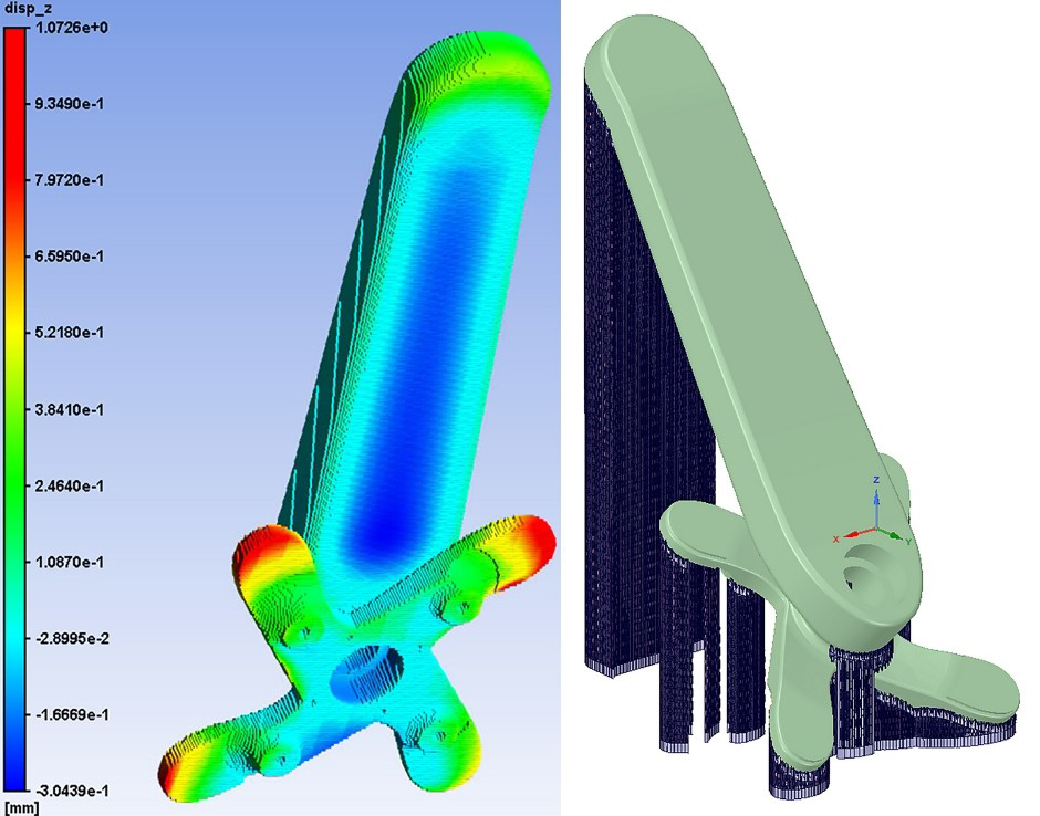 AM Process simulation with Ansys Additive Suite (left) and development of support structure (right)